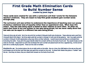 First Grade Number Sense Elimination Cards with expressions 5-12
