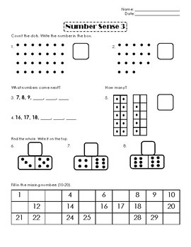 First Grade Number Sense Week 3