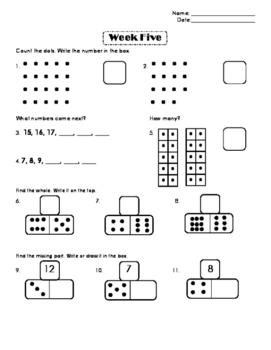 First Grade Number Sense Week 5