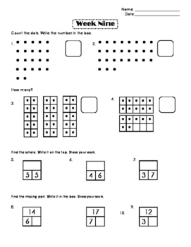 First Grade Number Sense Week 9
