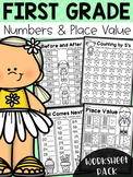 First Grade Numbers and Place Value Worksheets - Distance Learning