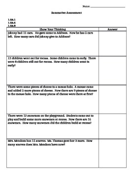 First Grade O.A. Math Assessment (editable and Common Core aligned!)