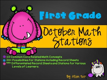 First Grade October Math Stations