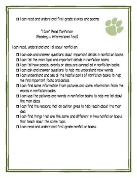 First Grade Ohio I Can Statements Checklist