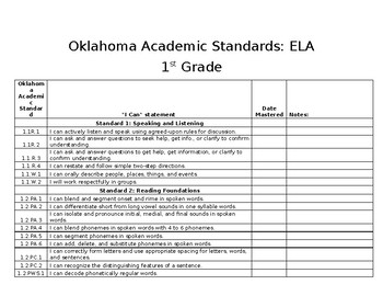 "First Grade Oklahoma Academic Standards ELA ""I Can"" Statements"