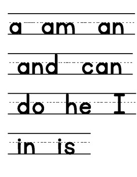 First Grade Open Court Sight Words for Word Wall