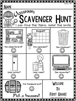 First Grade Open House, Meet and Greet or Orientation Scavenger Hunt