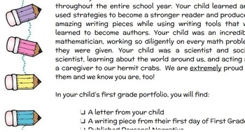 First Grade Open House Portfolio Family Letter
