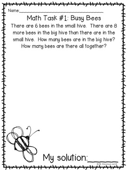 First Grade Operations and Algebraic Thinking Math Tasks