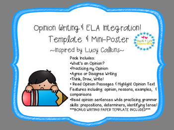 Opinion Writing 1st-2nd (Lucy Calkins inspired) fluency & grammar pack
