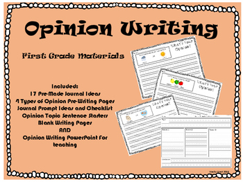 First Grade Opinion Writing Packet