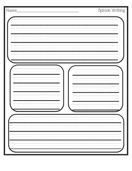 First Grade Opinion Writing Sentence Frame Graphic Organizer and Template