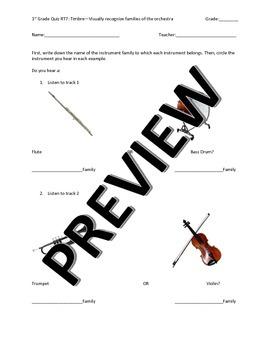 First Grade Orchestra Instrument Families Quiz