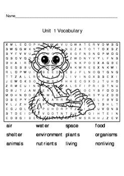 First Grade Organisms Vocabulary Crossword Puzzle
