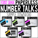 First Grade PAPERLESS Number Talk WEEK 20 SAMPLE