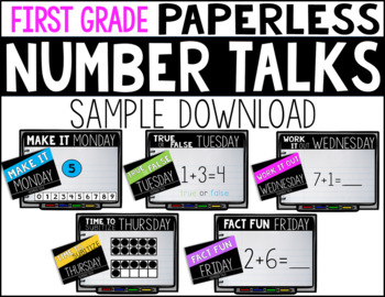 First Grade PAPERLESS Number Talk WEEK 1 SAMPLE