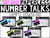 First Grade PAPERLESS Number Talk WEEK 1 SAMPLE