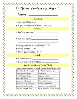 First Grade Parent Teacher Conference Agenda - Fall