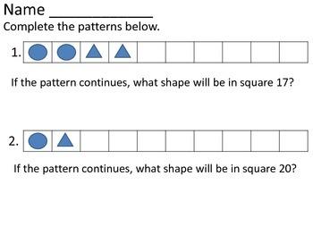 First Grade Patterns Independent Work