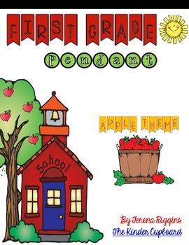 First Grade Pennant { apple theme }