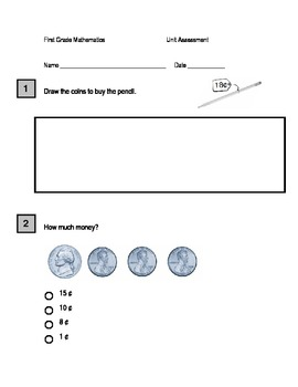First Grade Penny, Nickel and Dime and Skip Counting Assessment