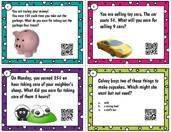 First Grade Personal Financial Literacy Word Problem QR Task Cards Tek 1.9 A-D