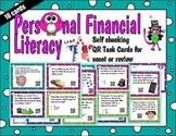 First Grade Personal Financial Literacy Word Problem QR Task Cards Tek 1.9 A-D