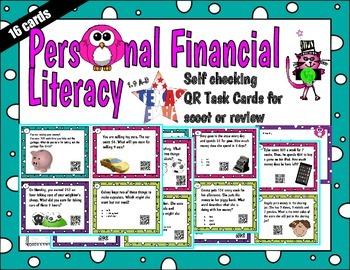 First Grade Personal Financial Literacy Word Problem QR Ta