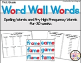 First Grade Phonetic Word Wall Words, Fry Word Wall Words, and Spelling Lists