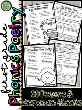 1st Grade Phonics Poetry and Response Sheets for Centers o