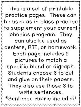 First Grade Phonics:  Blends and Digraphs Sentence Writing