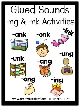 First Grade Phonics:  Glued Sounds ng and nk