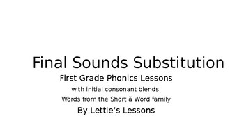 First Grade Phonics Lesson: Final Sound Substitutions Short a Words