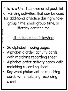 First Grade Phonics: Level 1, Unit 1