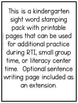 Kindergarten Phonics: Level K Sight Words Stamping