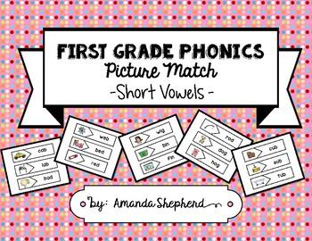 First Grade Phonics Picture Match:  CVC (Short Vowel) Words