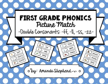 First Grade Phonics Picture Match:  Double Consonants Words