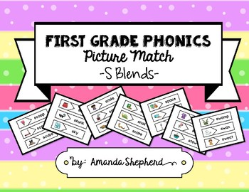 First Grade Phonics Picture Match:  S Blends Words