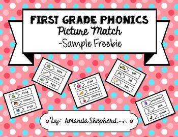 First Grade Phonics Picture Match:  Sample Freebie