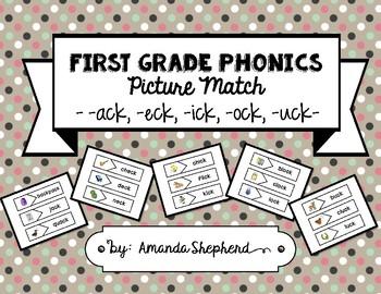 First Grade Phonics Picture Match:  -ck Words