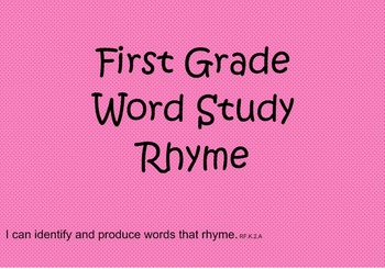 First Grade Phonics: Rhyming Words