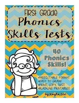 First Grade Phonics Skills Test Pack