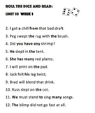 First Grade Phonics Unit 10 Roll and Reads (Weeks 1-3)