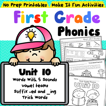 First Grade Phonics - Unit 10 Words with 5 Sounds, Suffixe