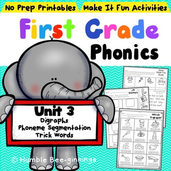 First Grade Phonics - Unit 3, Digraphs and Trick Words