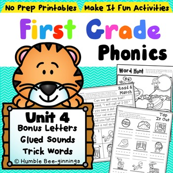 First Grade Phonics - Unit 4, Bonus Letters and Trick Words