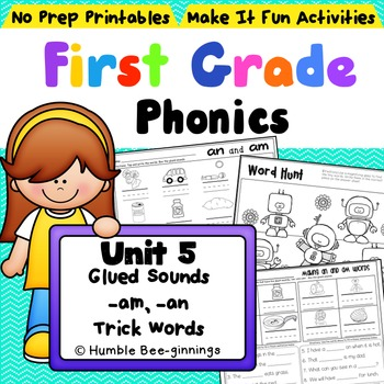 First Grade Phonics - Unit 5, Glued Sounds and Trick Words