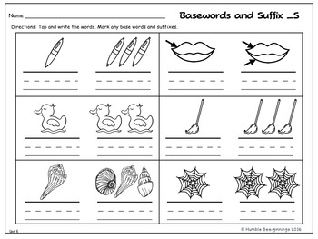 First Grade Phonics Unit 6, Suffix -s and Trick Words