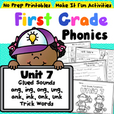First Grade Phonics Unit 7 Glued Sounds and Suffix s