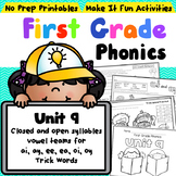 First Grade Phonics - Unit 9 Closed syllables and Vowel Teams